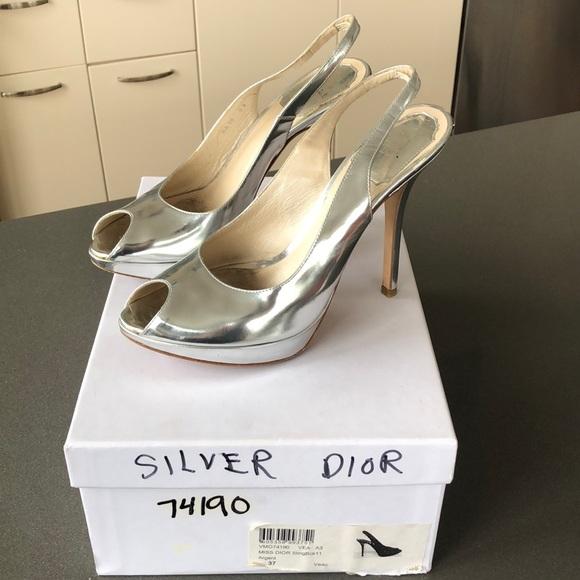 Dior Shoes | Silver Dior Heels | Poshmark